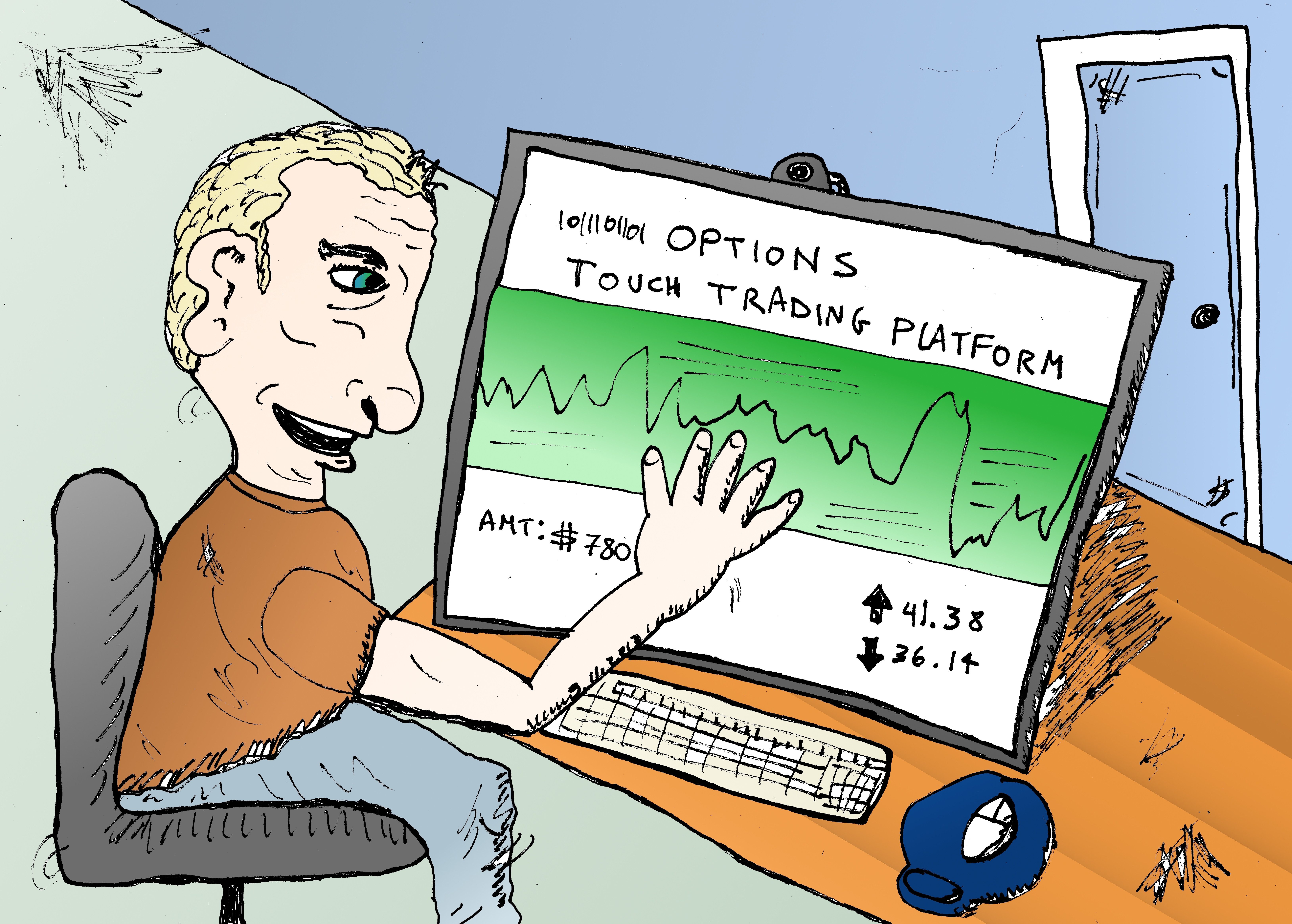 binary-options-touch-trading-platform-cartoon-illustration